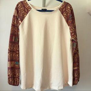 Hannah Long Sleeve Ivory Blouse Boho Style XL